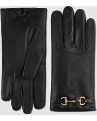 Gucci Handschuhe aus Leder mit Horsebit - Schwarz