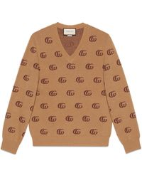 Gucci Double G Jacquard Wool V-neck Jumper - Brown