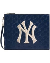 Gucci - Leather Pouch With Ny Yankeestm Patch - Lyst