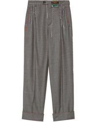 Gucci Wool Pant With Stitching - Gray