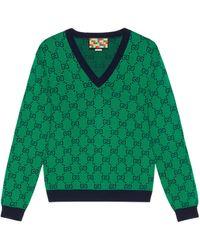 Gucci Jersey de cuello en V GG Multicolor - Verde