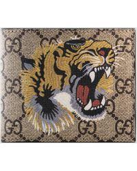 Gucci Brieftasche aus GG Supreme mit Tigerprint - Natur