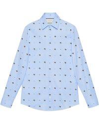 cfd14f9769e Lyst - Gucci Rabbit Fil Coupé Cambridge Shirt in Blue for Men