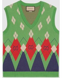 Gucci Pullunder aus Wollstrick mit GG Argyle-Muster - Grün