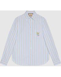 Gucci - 【公式】 (グッチ) キャット ストライプ ボクシーシャツライトブルー&ベージュブルー - Lyst