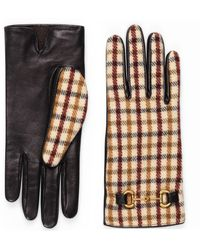 Gucci Handschuhe aus karierter Wolle und Leder - Weiß