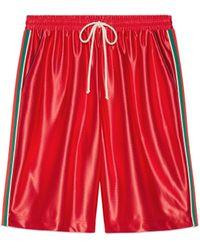 Gucci Shorts aus glänzendem Jersey mit Web - Rot
