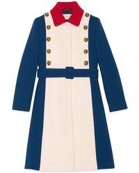 Gucci Wool A-line Coat - Blue