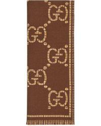 Gucci Bufanda de lana con GG - Marrón