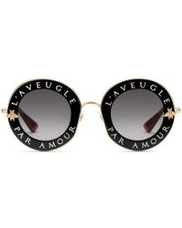 Gucci - Round-frame Metal Sunglasses - Lyst