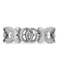Gucci Anillo Flora 18 K con pavé de diamantes - Blanco