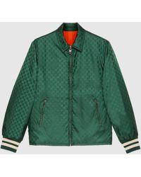Gucci 【公式】 (グッチ)GGナイロン ジャカード リバーシブル ジャケットグリーン&オレンジグリーン