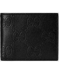 Gucci Brieftasche aus geprägtem GG Leder - Schwarz