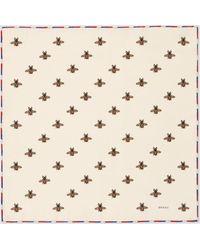 Gucci - 【公式】 (グッチ)ビー(ハチ) プリント シルク ポケット スカーフ アイボリー シルク ホワイト - Lyst