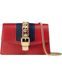 791efaeef15d Gucci Sylvie Leather Super Mini Bag in Black - Save 9% - Lyst