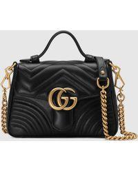 Gucci 【公式】 (グッチ)〔GGマーモント〕ミニ トップハンドルバッグブラック シェブロン レザーブラック