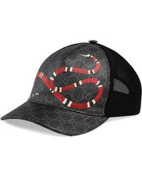 Gucci Kingsnake Print GG Supreme Baseball Hat - Black