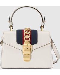 Gucci Sylvie Mini-Tasche aus Leder - Weiß