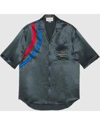 Gucci Übergroßes Bowling Shirt aus Azetat mit Band - Grau