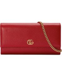 Gucci - GG Marmont Leather Chain Wallet - Lyst