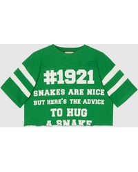 "Gucci - 【公式】 (グッチ) 1921 ""to Hug A Snake"" プリント クロップドtシャツグリーングリーン - Lyst"