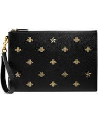 Gucci Bee Star Leather Pouch - Black