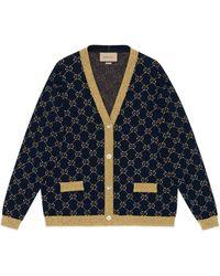 Gucci Cardigan en coton et lamé avec motif gg - Bleu