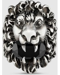 Gucci グッチクリスタル付き ライオンヘッド リング - マルチカラー