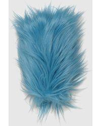 Gucci Handschuhe aus Kunstfell - Blau
