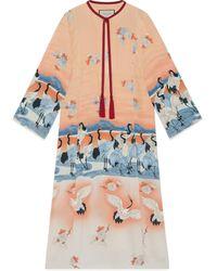 Gucci Caftán de seda con estampado de estanque (online) - Rosa