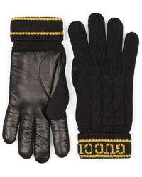 Gucci Handschuhe aus wollstrick mit schriftzug - Schwarz
