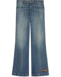Gucci Schlaghose aus Denim mit ökologischer Waschung - Blau