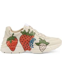 18865027d1d Gucci - Women s Rhyton Trainer With Strawberry - Lyst