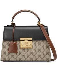 Gucci Padlock GG Supreme Top Handle Bag - Natural