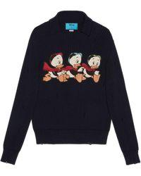 Gucci Disney x Donald Duck Pullover aus Baumwolle und Wolle - Blau