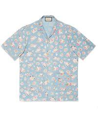 Gucci Übergroßes Bowling-Chambray-Shirt mit Print - Blau