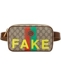 Gucci 'fake/not' Print Cosmetic Case - Natural