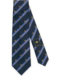 Gucci Corbata de seda a rayas con GG - Azul