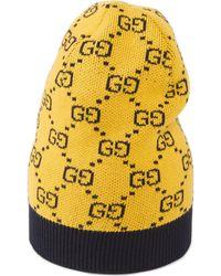 Gucci Gorro de algodón y lana GG Multicolor - Amarillo