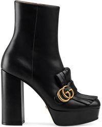 Gucci Marmont Fringed Logo-embellished Leather Platform Ankle Boots - Black
