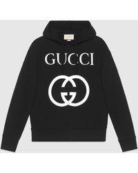 Gucci グッチインターロッキングg フーデッドスウェットシャツ - ブラック