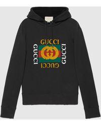 Gucci - 【公式】 (グッチ)グッチ ロゴ コットン スウェットシャツブラック コットンジャージーブラック - Lyst