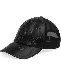 Gucci Logo-embossed Leather Trucker Cap - Black