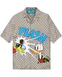 Gucci Bowling Shirt aus Seide mit Disney x Donald Duck Print - Natur