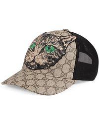 Gucci Gg Supreme Mystic Cat Baseball Hat in Black for Men - Lyst b35294028b1