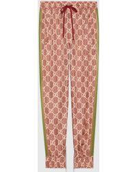 Gucci 【公式】 (グッチ)GGスプリーム プリント シルク パンツピンク&ベージュマルチカラ - マルチカラー