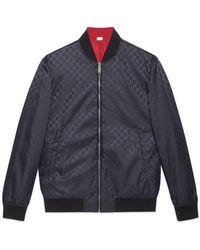 20e5372ea Gucci Hooded Bomber Jacket in Blue for Men - Lyst