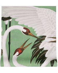 Gucci Tapete mit Reiher-Print - Grün