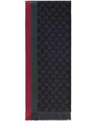 Gucci Écharpe tricotée jacquard motif GG - Gris