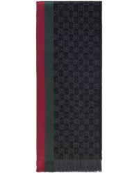 prezzo competitivo a6263 1266c Sciarpa in lana jacquard con motivo GG e Web - Grigio